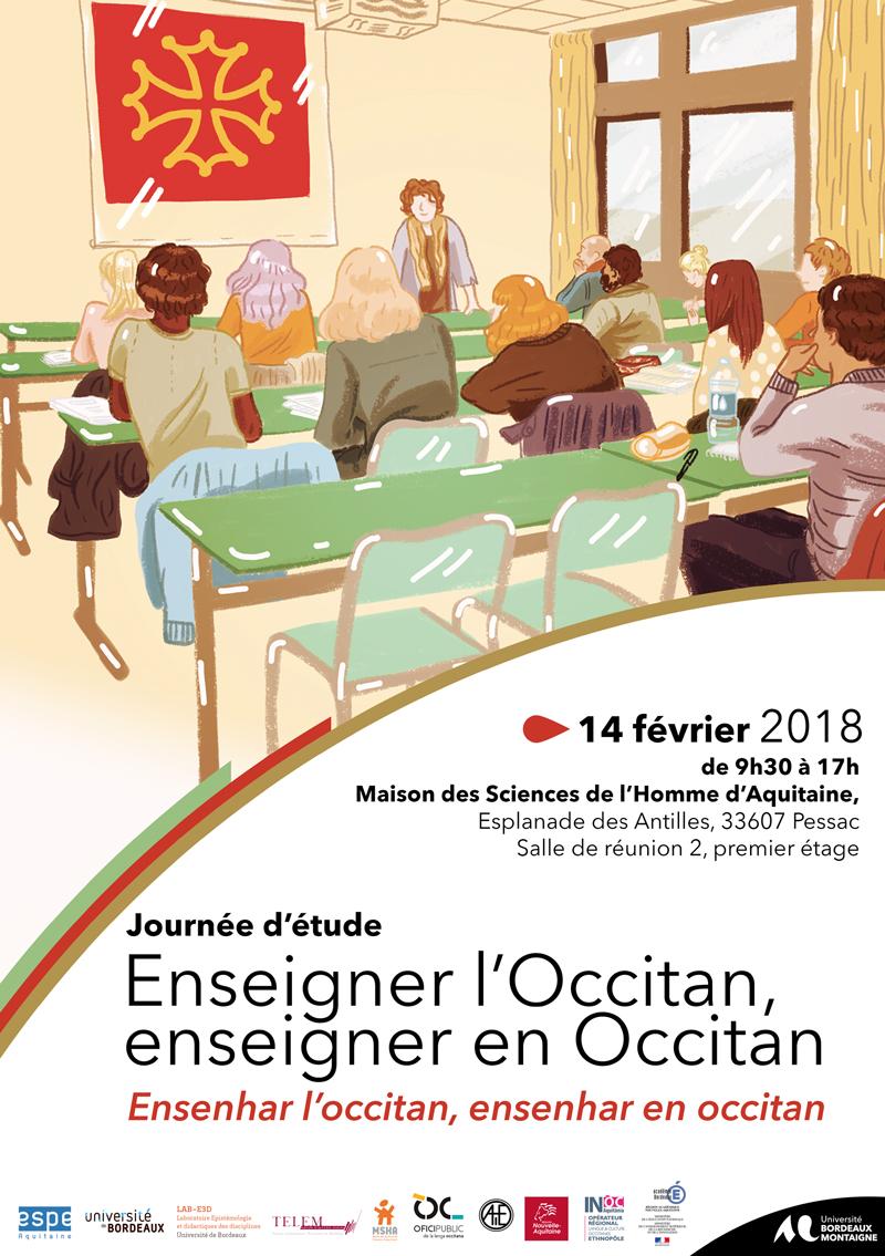"""Affiche de la journée d'étude """"Enseigner l'occitan / enseigner en occitan"""" - 14/02/2018 - Bordeaux"""