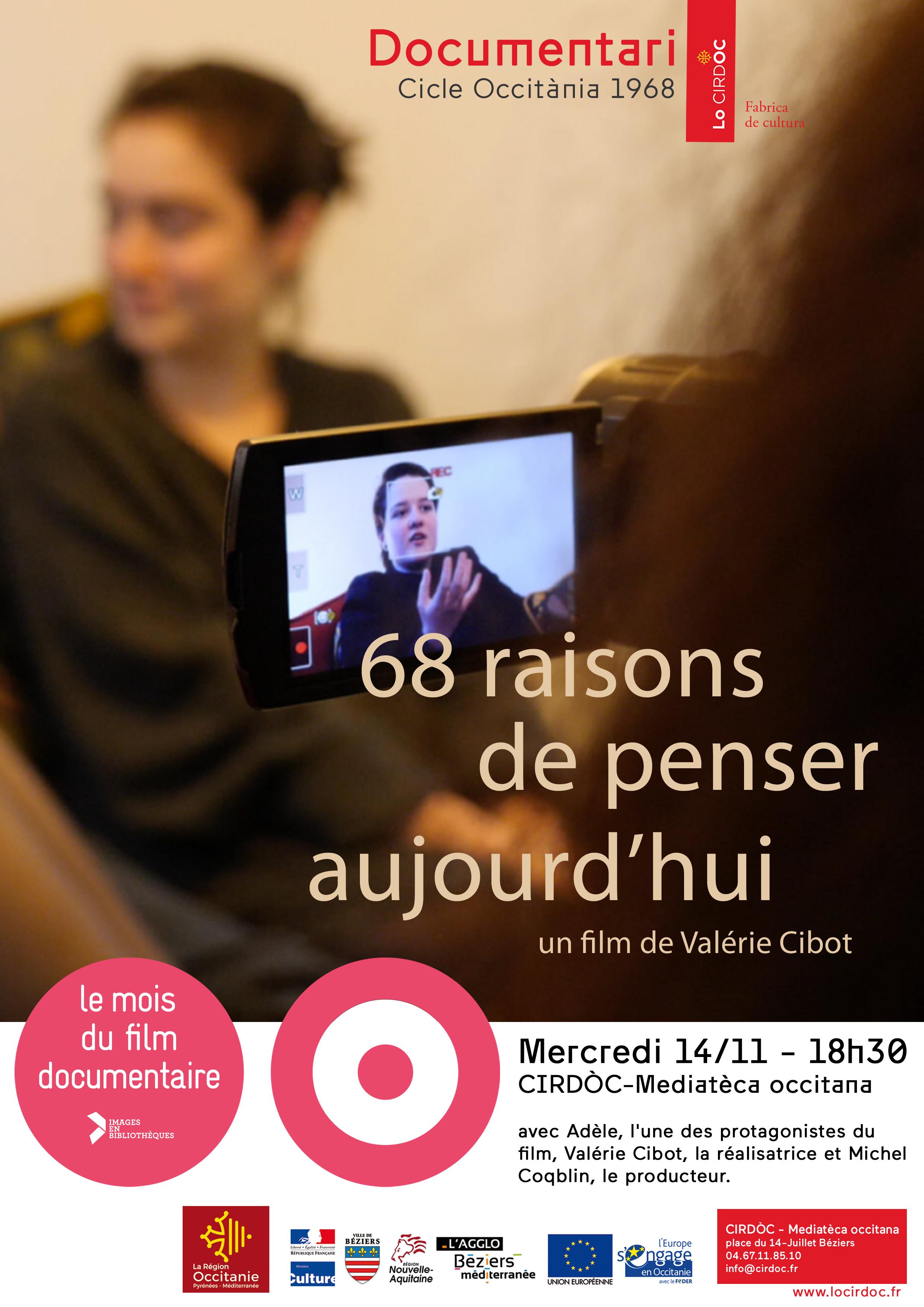 """Projection """"68 raisons de penser aujourd'hui"""" (dans le cadre du Mois du Film Documentaire)"""